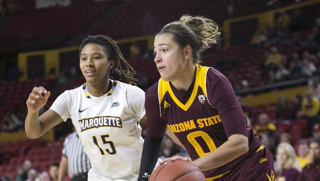 ASU guard Katie Hempen dribbles as Marquette guard Amani Wilborn defends during the fourth quarter of the women's college basketball game at Wells Fargo Arena in Tempe on Saturday, December 19, 2015. ASU won the game 90-80.
