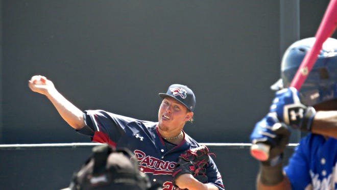 Patriots starting pitcher Jeremy McBryde pitches to a batter during Somerset's game against the Sugar Land Skeeters