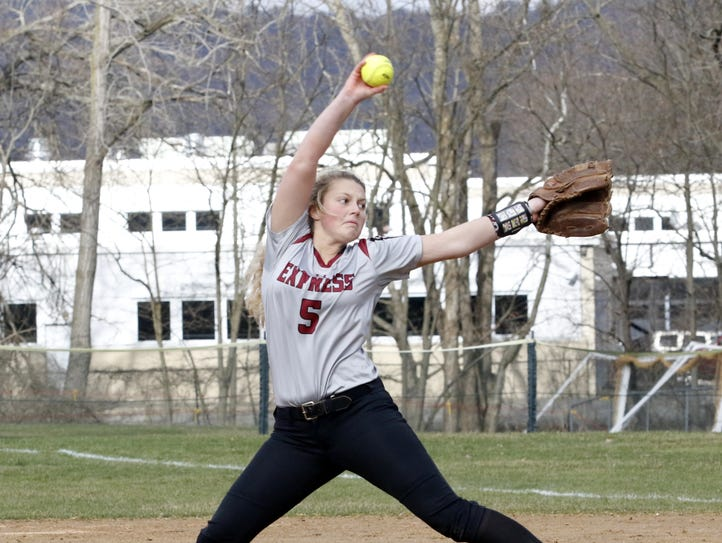 Bella Reese delivers a pitch for Elmira in a 3-0 victory