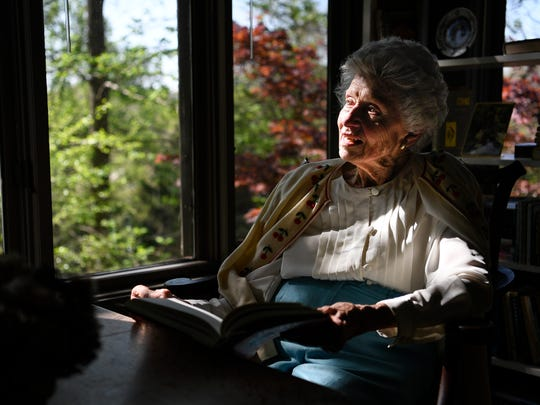 Laura Lea Knox, the granddaughter of Percy Warner and the great niece of Edwin Warner, also turns 90 this year. She enjoys reading in her sunroom that overlooks part of Edwin Warner Park Wednesday, April 12, 2017 in Nashville, Tenn.