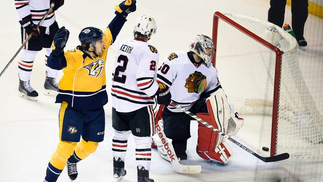 Nashville Predators center Filip Forsberg (9) celebrates after a goal past Chicago Blackhawks goalie Corey Crawford (50) during the third period in game two of the first round of the the 2015 Stanley Cup Playoffs at Bridgestone Arena.