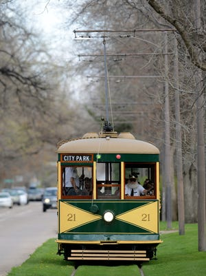 The historic trolley travels west on Mountain Avenue.
