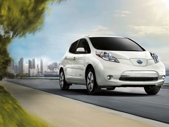 This photo provided by Nissan shows the 2017 Leaf EV