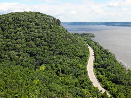 The Great River Road winds around Maiden Rock Bluff