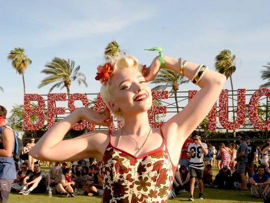 Festival-goer attends day 1 of the 2016 Coachella Valley Music & Arts Festival Weekend 2 at the Empire Polo Club on April 22, 2016 in Indio, California.  (Photo by Matt Cowan/Getty Images for Coachella)