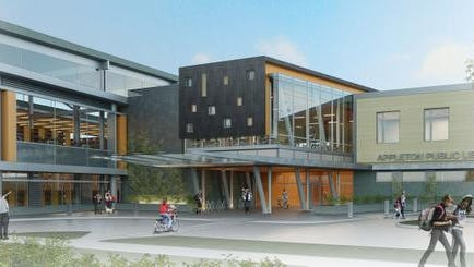 Artist's drawing of proposed Appleton Public Library