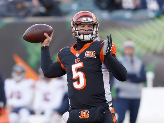 AJ McCarron is one of the top free agent QBs still available.