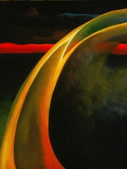 'Red and Orange Streak' (1919) is an oil on canvas