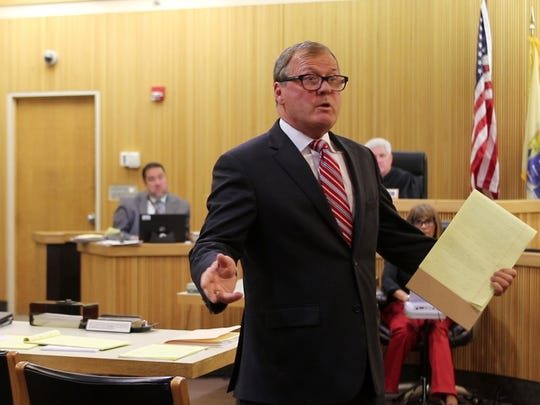 Robert A. Honecker, defense attorney, gives his opening statement during the trial of Brookdale honors student Raquel Garajau before Superior Court Judge Joseph W. Oxley at the Monmouth County Courthouse in Freehold, NJ Tuesday July 24, 2018.  She is on trial for the murder of pot dealer Trupal Patel.