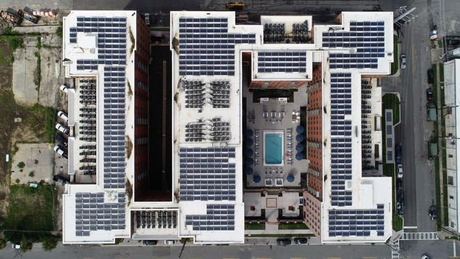 An aerial view shows the 575 solar panels atop The Baxly.