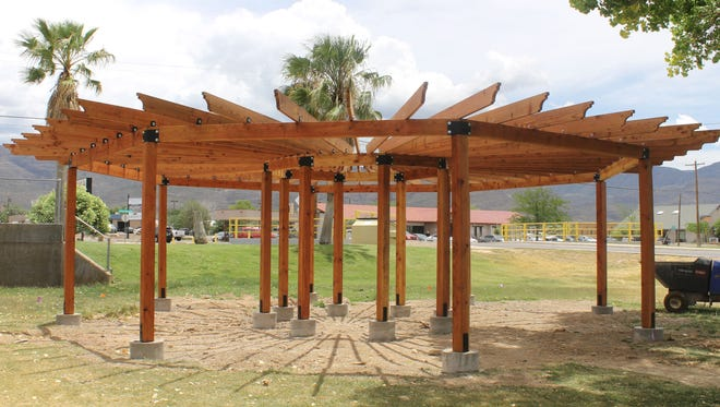 The Alamogordo Public Library's pergola, paid for by donated funds and Atari dig profits, is almost complete. The library hopes to have the pergola open to the public by August.