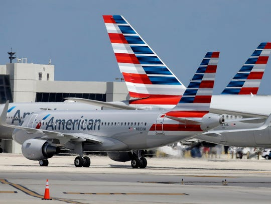 An American Airlines jet taxis to the gate May 27,