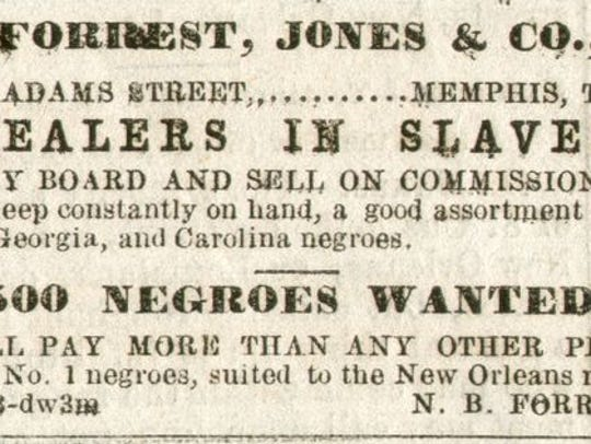 "Ad for Forrest's ""slave mart"" at 89 Adams' St."