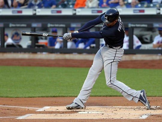 Atlanta Braves first baseman Freddie Freeman (5) hits