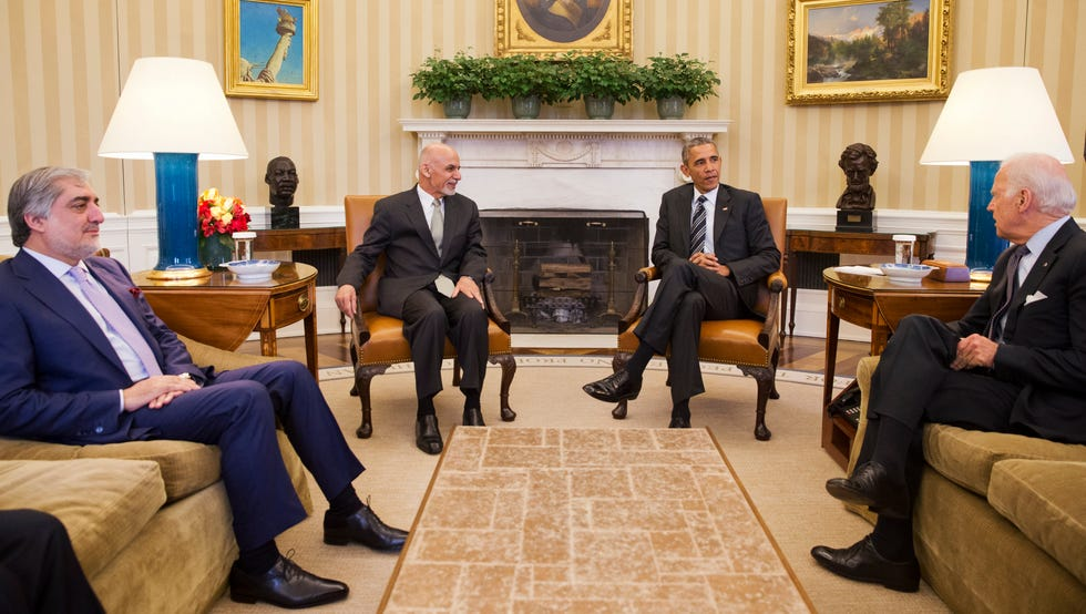 Abdullah Abdullah, chief executive officer of Afghanistan, left, Afghan President Ashraf Ghani, President Obama and Vice President Biden meet in the Oval Office of the White House on March 24, 2015.