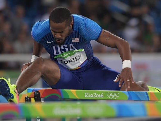 Jeff Porter competes in the men's 110-meter hurdles during track and field competition in the Rio 2016 Summer Olympic Games Tuesday evening at Estadio Olimpico Joao Havelange in Rio de Janeiro.
