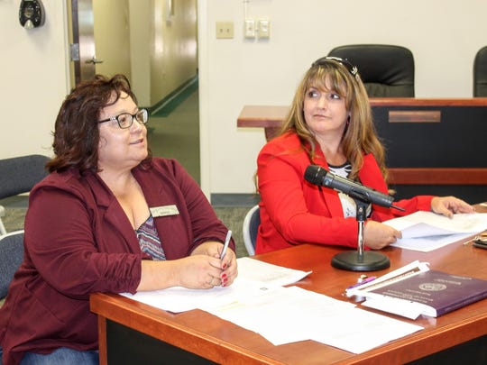 Otero County Clerk Denise Guerra and a deputy clerk