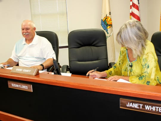 Commissioners Ronny Rardin and Janet White adjourn