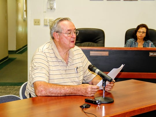 Timberon resident B.F. Adams provided input at Tuesday's county commission public hearing regarding off-highway vehicles on paved roads.