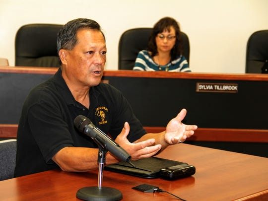 Alamogordo Chamber of Commerce President Mike Espiritu discussed getting a liquor license for  the Burgers and Brew event hosted by the Chamber of Commerce Sept. 16 and 17 to county commissioners Friday morning.