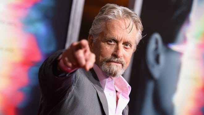 "Michael Douglas arrives at the world premiere of ""Flatliners"" at The Theatre at Ace Hotel on Wednesday, in Los Angeles."