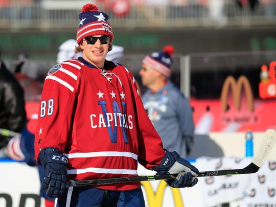 Nate Schmidt No. 88 of the Washington Capitals warms