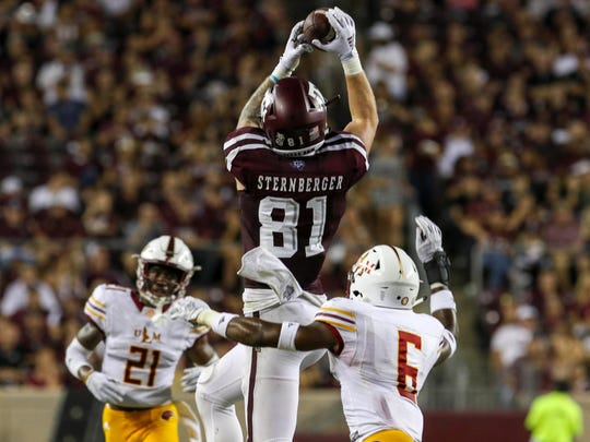 Texas A&M tight end Jace Sternberger catches a pass against Louisiana Monroe on Sept. 15, 2018.