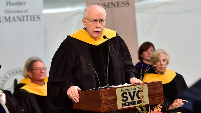 Awarding-winning journalist Mike Donoghue, Class of 1971, received an honorary degree and gave the keynote address at Saturday's Southern Vermont College 89th Commencement in Bennington.