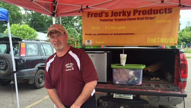 Fred's Jerky Products of Charlotte offered Jamaican, Sweet BBQ and regular jerky products at the South Lansing Farmers Market on June 9, 2016.