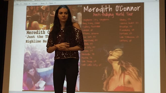 Singer/songwriter Meredith O'Connor brought her anti-bullying message to 7th graders at Avenel Middle School in the Avenel section of Woodbridge on Friday.
