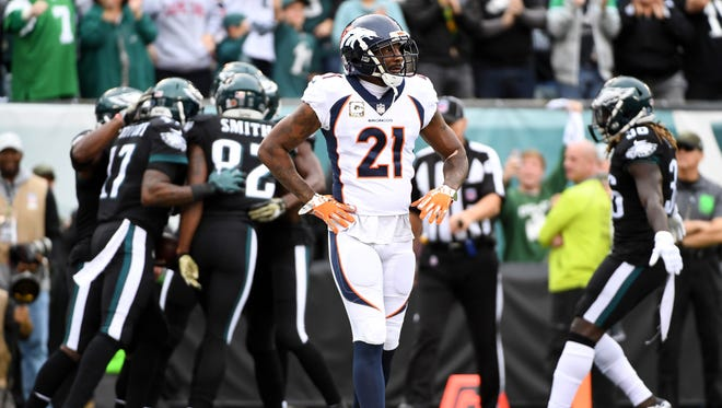 Denver Broncos cornerback Aqib Talib (21) reacts after Philadelphia Eagles wide receiver Alshon Jeffery (17) scored a touchdown during the first quarter at Lincoln Financial Field.