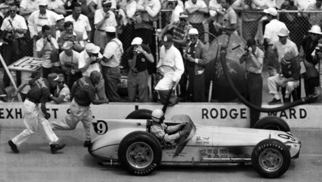 Sam Hanks in his final pit stop in the 1957 Indianapolis 500.