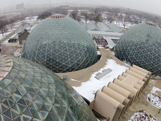 The Mitchell Park Domes at the Mitchell Park Conservatory were closed after a piece of concrete fell from one of the structures recently.