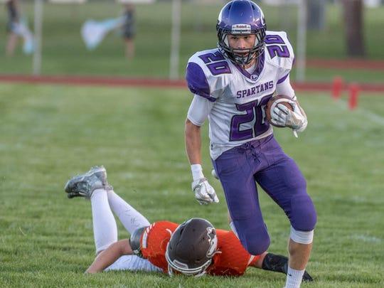 Lakeview's Ethan Eldridge advances the ball on the