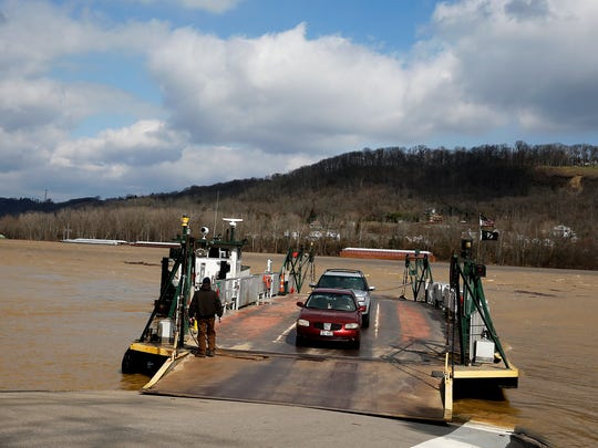 The Anderson Ferry leaves Constance, Kentucky across the Ohio River to Cincinnati Thursday March 2, 2017. The Anderson Ferry, which is on the National Register of Historic Places, celebrates its 200th anniversary this month.