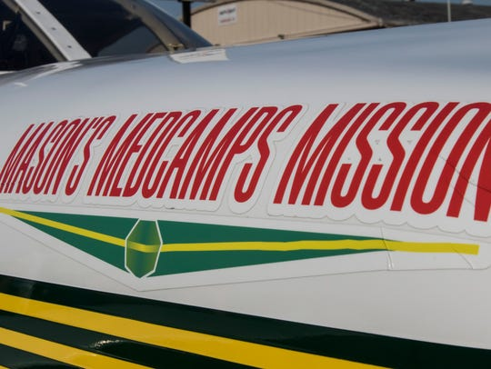 A sticker affixed to Mason Andrews's plane denotes