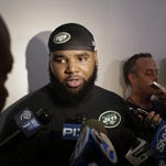 Jets defensive end Sheldon Richardson responds to questions during a news interview after practice at training camp on July 30, 2015, in Florham Park, N.J.
