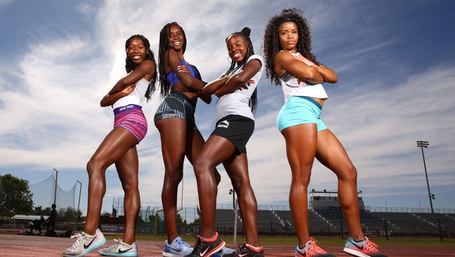 Chandler High track and field team members (from left): LaMeyah Charlton, Anna Foreman, Armani Harris and Anaya Bailey on Tuesday, May 2, 2017 in Chandler, Ariz.