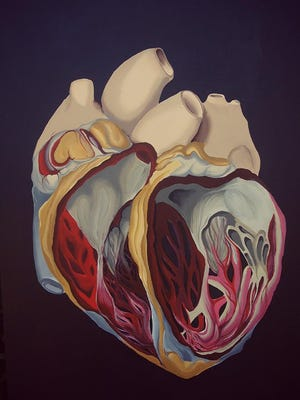 """Heart No. 5,"" acrylic on canvas by Allie Jensen."