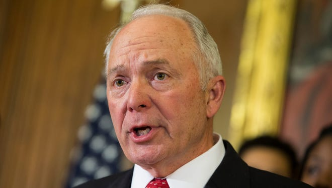 FILE - In this May 7, 2014 file photo, House Education and the Workforce Committee Chairman Rep. John Kline, R-Minn. speaks during a news conference on Capitol Hill in Washington.