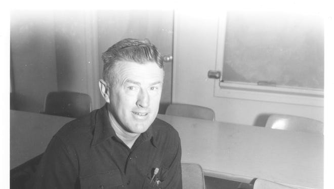 U.S. Navy veteran John Smith, taken Dec. 6, 1958, while Smith recorded an interview as a student at Dakota Wesleyan University detailing his experiences during the attack on Pearl Harbor.