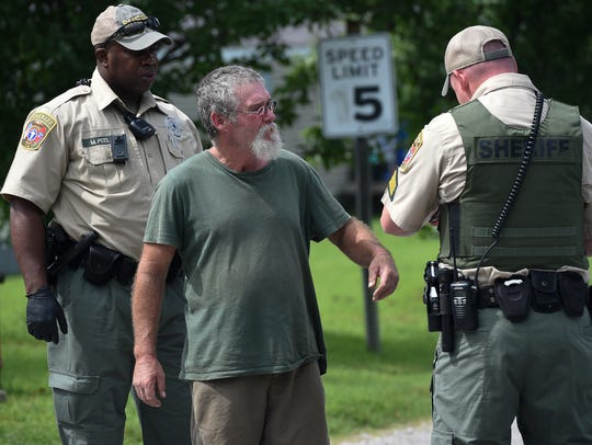Anthony Townsend talks with Cheatham County sheriff's