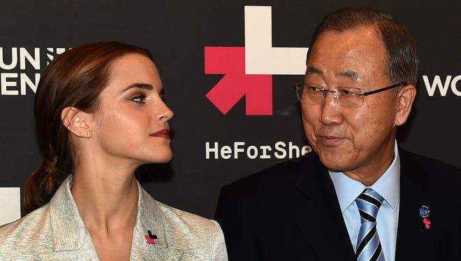 Emma Watson poses next to United Nations Secretary General Ban Ki-moon.