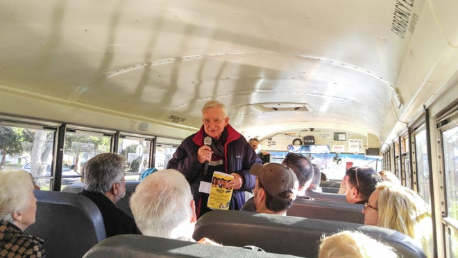 """Dan Wakefield talks about """"Going All the Way""""  on the bus tour organized by Will Higgins of The Star."""