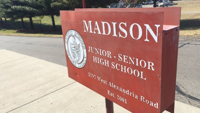 This is the entrance to the Madison Jr./Sr. High School in Butler County.