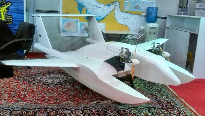 A handout picture released on Oct. 26 by the Tasnim news agency showing what Iran's elite Revolutionary Guards referred to as a 'suicide drone.'