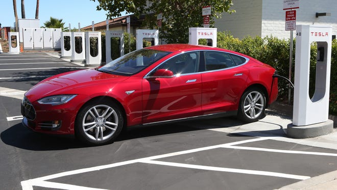 A Tesla Supercharging Station in Bue;lton Calif., on the route between Los Angeles and San Francisco. Tesla Superchargers allow Model S owners to travel for free between cities.