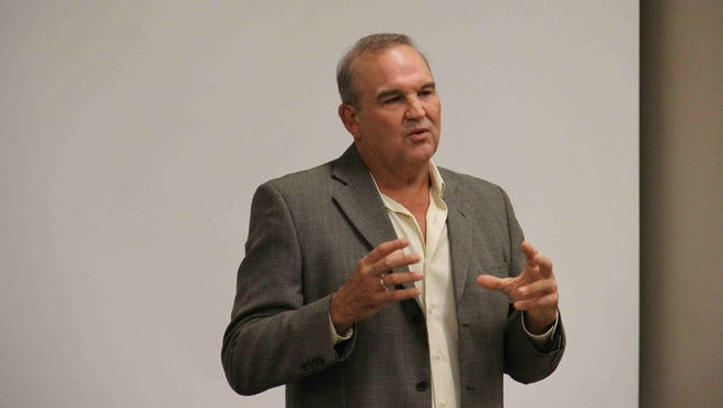 Mike DeLazzer, a founding team member behind Redbox, speaks at Iowa State University Tuesday, Sept. 22, 2015.