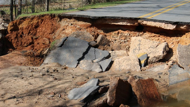 A portion of Louisiana 838 in west Ouachita Parish washed out during the flash flooding in in northeastern Louisiana last week.