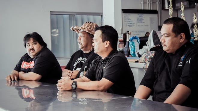 Guam's Culinary Arts delegation discuss with GCC Culinary Arts students the volunteer schedule and cooking opportunities for the upcoming 2016 Festival of the Pacific Arts, happening on Guam May 22 – June 4, 2016. They are, from left: Joe Okada, Tunu Guam; Tony Mantanona, Hotnu Bakery; Peter Duenas, owner, Meskla Restaurants and MCA president; and JR Taga, executive chef, PIC and MCA VP.
